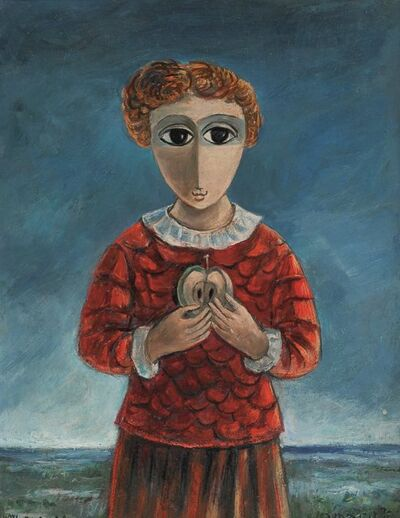 Yosl Bergner, 'Girl with an Apple', 1920-2017