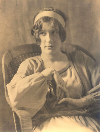 Eva Watson-Schütze, 'Untitled (Young Woman with Headband in Wicker Chair)', 1900c / 1900c