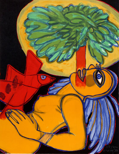 Corneille, 'Nude with a Red Bird', 1981