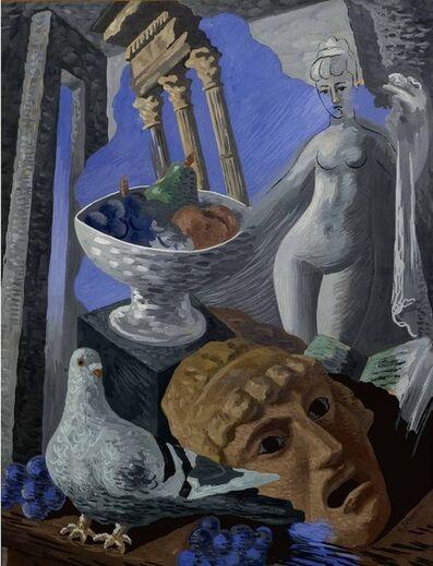 Gino Severini, 'Natura morta con ruderi, piccione e statua', 1931