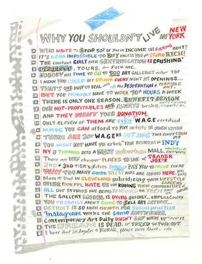 William Powhida, 'Why You Shouldn't Live in New York', 2016