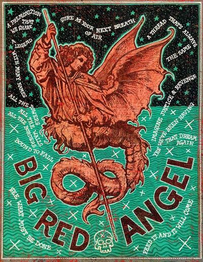 Jon Langford, 'BIG RED ANGEL', 2019