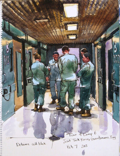 Steve Mumford, '2//7/13 Detainee cell block, Tour of Camp 6, Joint Task ForceCamp Delta, Guantanamo Bay, Cuba'