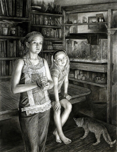 Edgar Jerins, 'Sarah and Brittany with Barnyard Cat', 2008