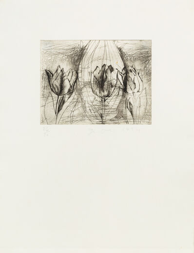 Jim Dine, 'Self-portrait in a ski hat (Obliterated by tulips)', 1974