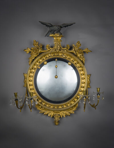 Unknown American, 'Neo-Classical Convex Girandole Mirror with Candle Arms', ca. 1810