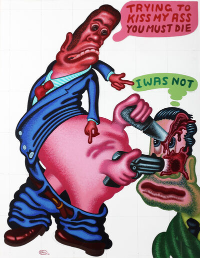Peter Saul, 'Trying to Kiss my ass You must Die', 2001