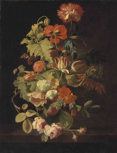 Simon Pietersz. Verelst, 'A carnation, iris, roses, tulips and other flowers in a glass vase on a stone ledge'