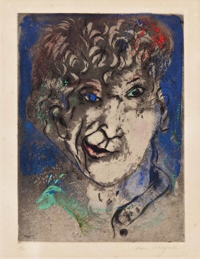 Marc Chagall, 'Self Portrait with Grimace', 1925