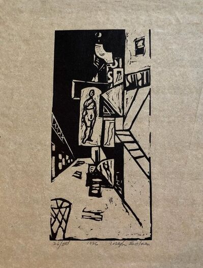 Joseph Solman, '1936 Woodblock Print Venus of 23rd St. Skid Row Woodcut NYC Great Depression WPA', 20th Century