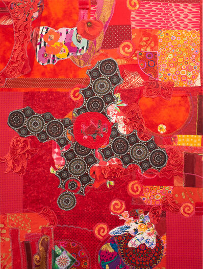 Jennifer Blalack, 'Collaboration - Bright Red, International Fabric and Textile Collage', 2021