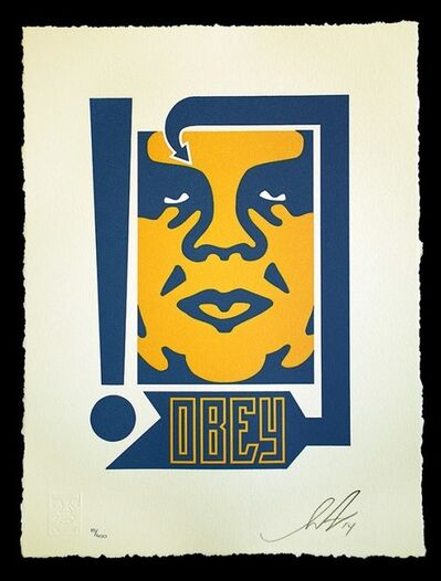 Shepard Fairey, 'MUSTARD & NAVY ARROW LETTERPRESS', 2014