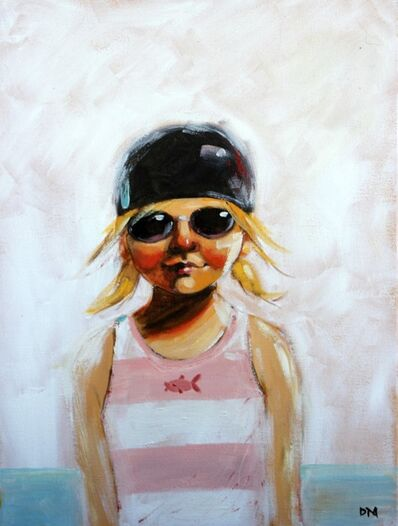 "Debbie Miller, '""Pink Fish"" oil painting of a girl in a pink and white striped swimsuit with black cap and goggles', 2019"