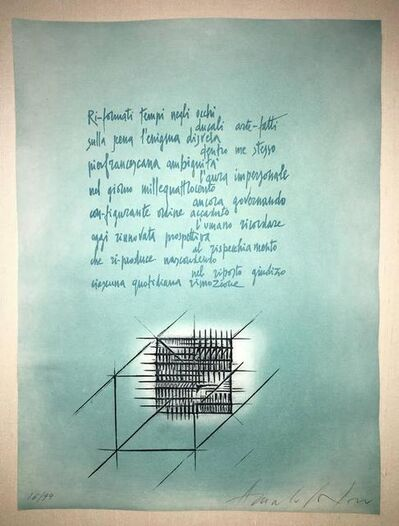 Arnaldo Pomodoro, 'Abstract Etching with Italian Poem III', 20th Century