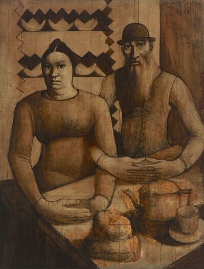 Mark Gertler, 'Rabbi and Rabbitzin', 1914