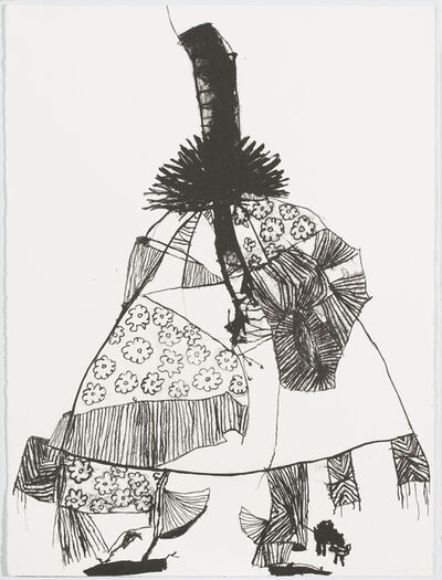 Pat Douthwaite, 'Black Spiky-Haired Geisha and Bent 'topper'', 1988
