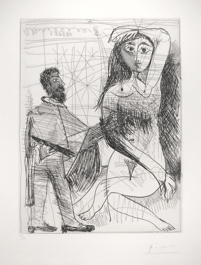 Pablo Picasso, 'Peintre en costume Espagnol peignant sur son modele (Painter in a Spanish Costume Painting his Model)', 1968