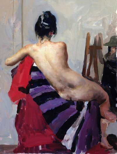 Hollis Dunlap, 'Nude with Purple Stripes', 2020