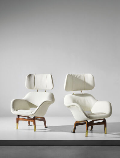Ilmari Tapiovaara, 'Pair of rare armchairs with headrest, designed for the Hotel Marski, Helsinki', 1960-61