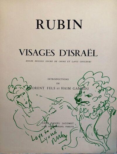 Reuven Rubin, 'Original Drawing Reuven Rubin Self Portrait with Lion Modern Israeli Art 1960s', 1960-1969