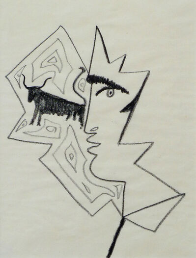 Jean Cocteau, 'Profile of a Man with a Bull', 1962