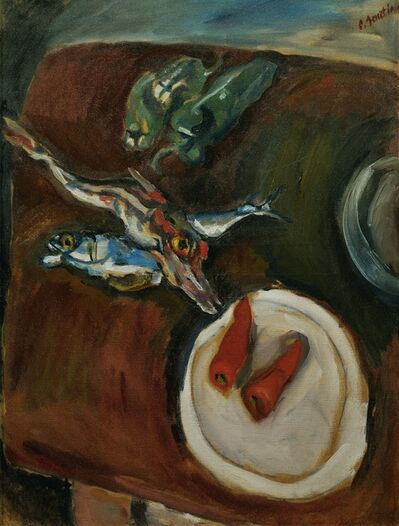 Chaim Soutine, 'Still-life with fish, peppers and carrots', ca. 1918