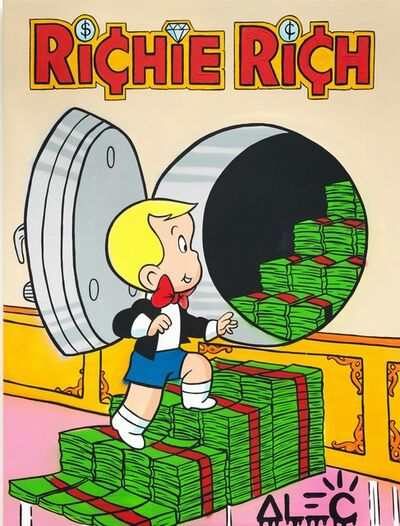 Alec Monopoly, 'Richie Opening safe with bills ', 2020
