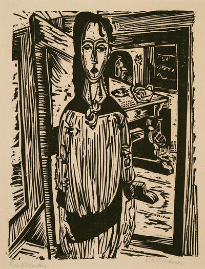 Ernst Ludwig Kirchner, 'Schlankes Mädchen vor offener Zimmertür (Edith Spengler) (Slender Girl in front of an open Door (Edith Spengler)) ', 1917