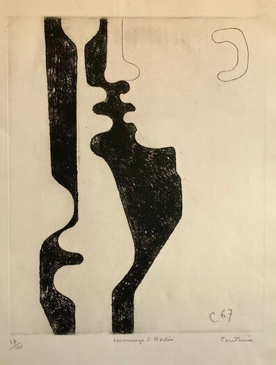 Rene Couturier, 'Hommage a Rodin, French Abstract Etching of Nude Sculpture, Stark Black & White', 1960-1969