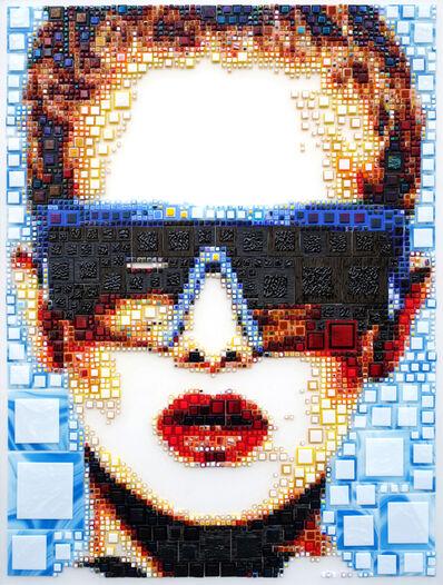 "Isabelle Scheltjens, '""Crazy Luna"" -- glass fusing, pointillism, dots, optical effects, pop art, pop culture, beauty, magical, aesthetic, model, celebrity', 2017"