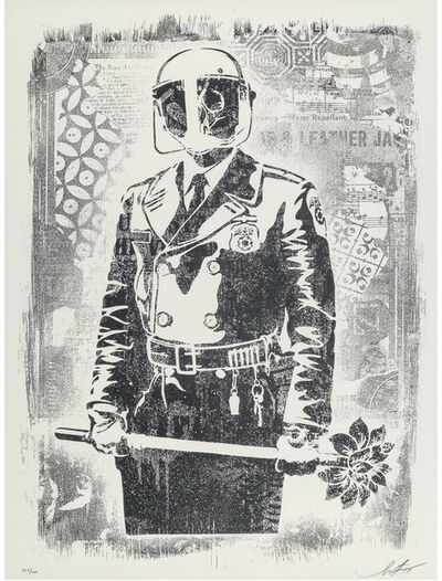 Shepard Fairey, 'Damaged Stencil Series: My Florist Is A Dick', 2017