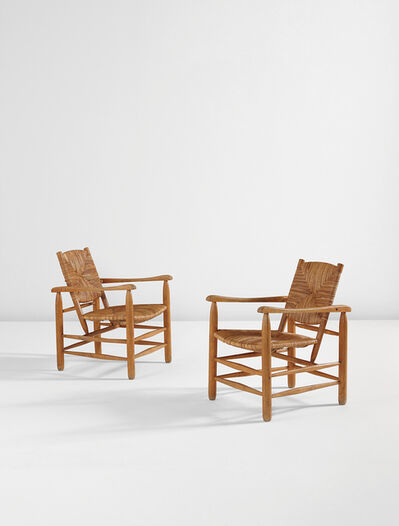 """Charlotte Perriand, 'Pair of armchairs, model no. 21, from """"L'Equipement de la Maison"""" series, Grenoble', designed 1935, produced ca. 1946, 1968"""