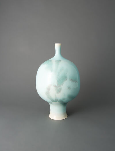 Brother Thomas Bezanson, 'Vase, turquoise blue and green copper glaze'