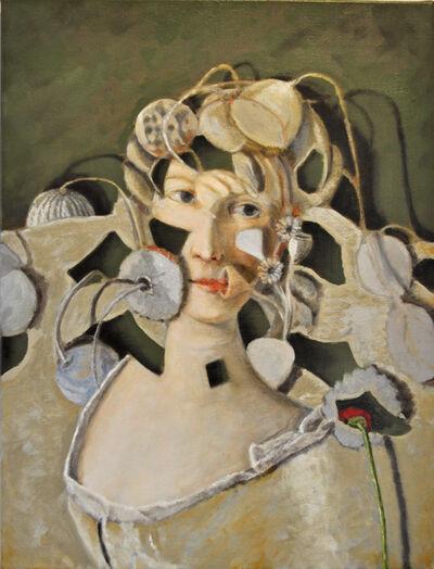 Adam Leech, 'Face with grey flowers', 2019