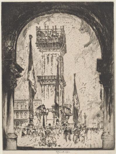Joseph Pennell, 'Rebuilding the Campanile, Venice, No.I', 1911