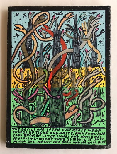 Howard Finster, 'The Devils and Eaten Can Really Wrap Things Up Tight', 1990
