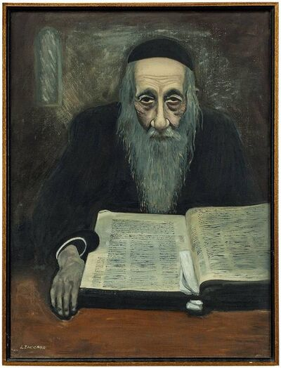 Unknown, 'Rare Modernist Judaica Scholar Rabbi Studying Oil Painting', 20th Century