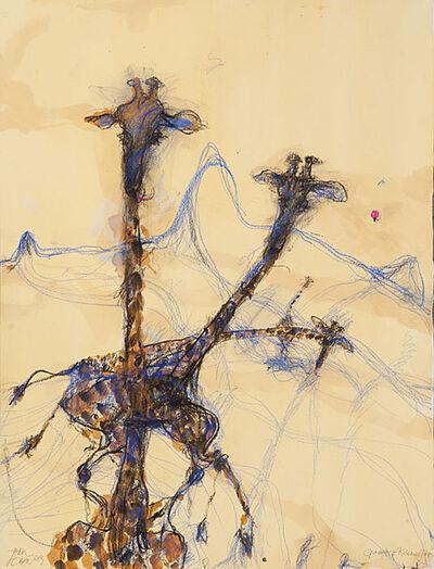 John Olsen (b.1928), 'Giraffes and Kilamanjaro', 2014