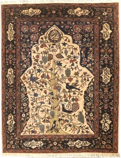 Rug, 'Authentic Persian Hand Knotted Tree Of Life Tabriz Rug', 2000