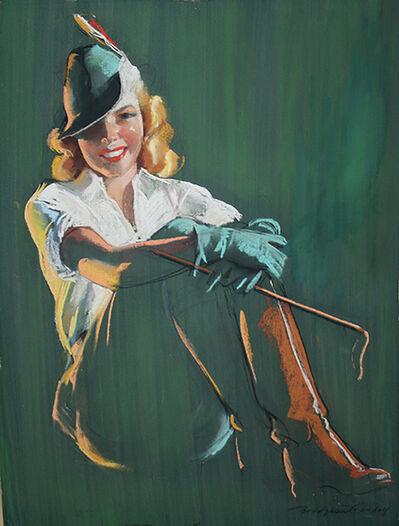 Bradshaw Crandell, 'Blonde Woman in Green Equestrian Garb'