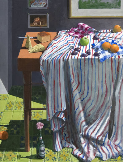 Paul Wonner, 'Striped Cloth with Fruit and Cheese', 1999