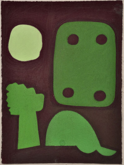 Julian Martin, 'Untitled (Abstracted Green Shapes on Maroon)', 2010