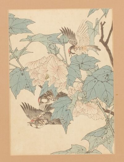 Imao Keinen, 'Farolillos y gorrión  (灯籠児-ホジロ)', 1892