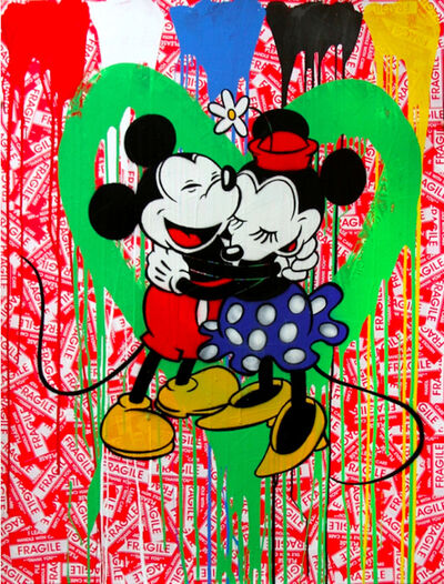 Mr. Brainwash, 'Mickey & Minnie in love (green heart)', 2014