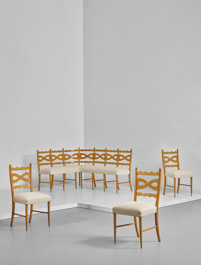 Paolo Buffa, 'Corner banquette and three side chairs', circa 1940
