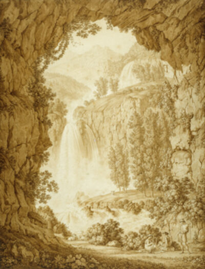 Christoph Heinrich Kniep, 'A Shepherd and Muses by a Waterfall', 1798