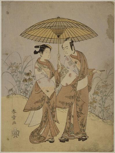 Katsukawa Shunsho, 'Play at the Nakamuraza theatre in the 8th month of 1768; Two Actors: Ichikawa Yaozo II in the role of Hanshichi and Sagawa Kikunojo in the role of Sankatsu', 1768
