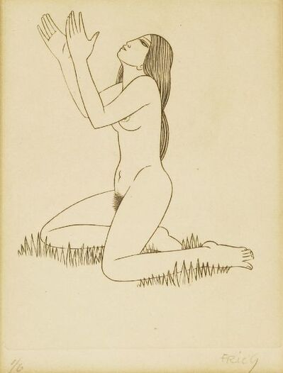 Eric Gill, 'A SEATED NUDE'