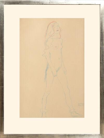 Gustav Klimt, 'Akt eines jungen Mädchens (Rot und Blaustift). Nude of a Young Girl (red and blue pencil).', 1919