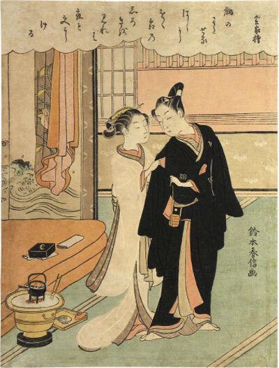 Suzuki Harunobu, 'Parting Lovers (Magpie Bridge)', ca. 1768